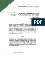 Diretrizes Políticas Globais e Relações Políticas Locais em Educação BALL