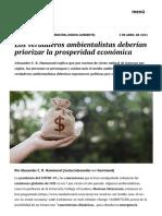 Los verdaderos ambientalistas deberían priorizar la prosperidad económica _ elcato.org