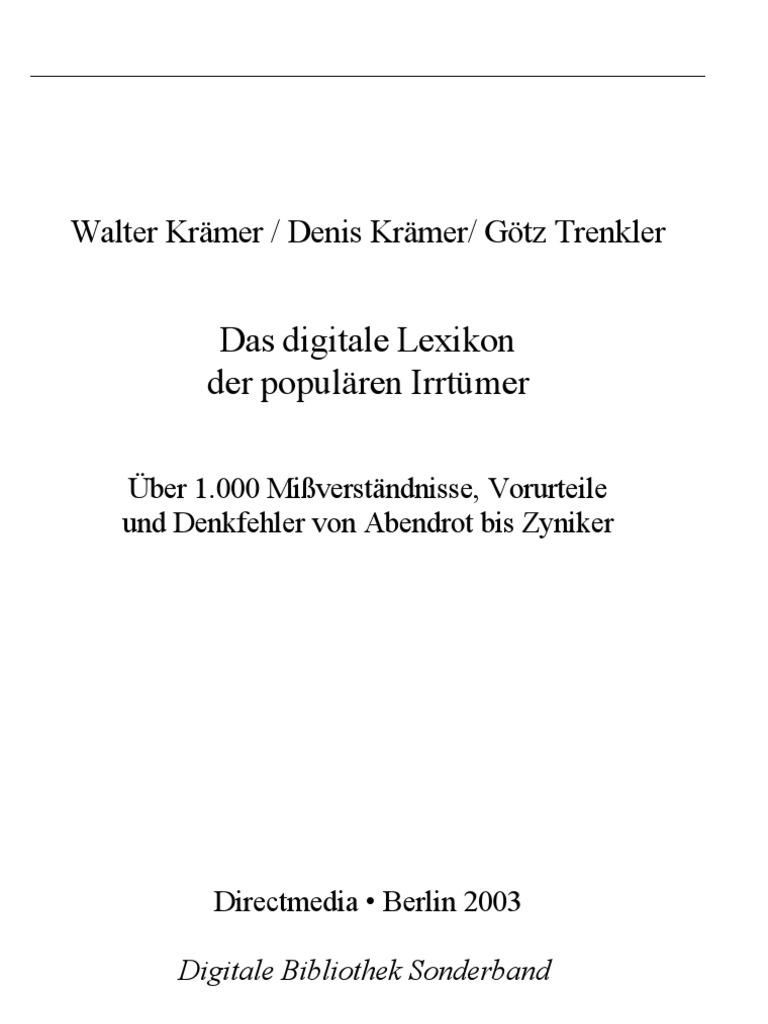 Das Digitale Lexikon Der Populären Irrtümer
