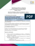 Guia de actividades y Rúbrica de evaluación Tarea  4 - Planeación e implementación experiencia pedagógica