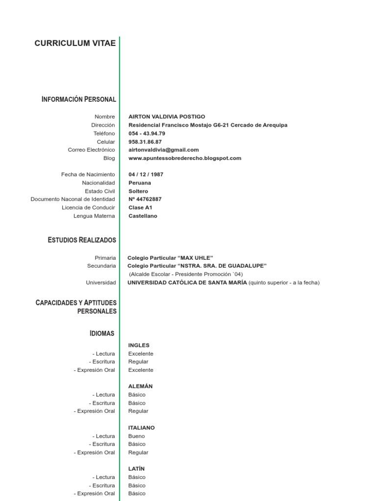 Curriculum Vitae uploaded by airtonvaldiviap
