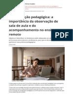 Coordenacao Pedagogica a Importancia Da Observacao de Sala de Aula e Do Acompanhamento No Ensino Remotopdf