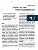 A Guideline to Local Anestetic Alergy Testing