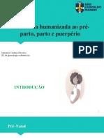 Assistência humanizada ao pré-parto, parto e puerpério