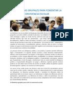 10 DINÁMICAS GRUPALES PARA FOMENTAR LA CONVIVENCIA ESCOLAR