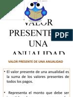 VALOR PRESENTE DE UNA ANUALIDAD