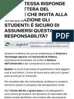 STUDENTESSA RISPONDE ALLA LETTERA DEL RETTORE CHE INVITA ALLA VACCINAZIONE GLI STUDENTI