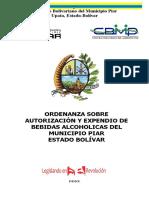 ORDENANZA BEBIDAS ALCOHÓLICAS  PIAR 2020