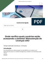 Onde Verifico Quais Usuários Estão Acessando o Sistema Manutenção de Licenças UAU