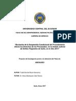 2017 Ecuador Exclusion Suspension Condicional Procedimiento Afecta Derecho Delito Flagrantes