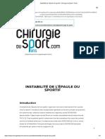 Instabilité de l'Épaule Du Sportif – Chirurgie Du Sport – Paris