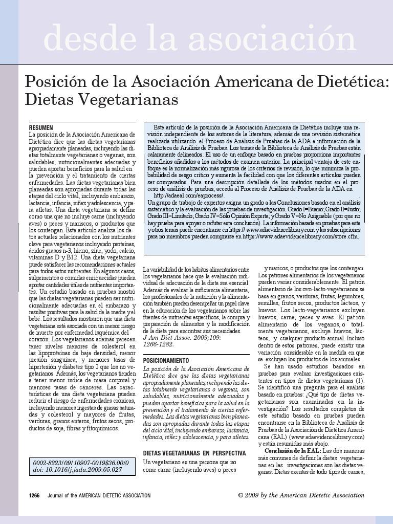 postura de la asociacion americana de dietetica dietas vegetarianas