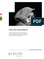Pro Life Campaign Human Embryo Briefing Document 2010