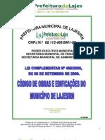 LEI COMPLEMENTAR N.º 488-20091 - CÓDIGO DE OBRAS LAJES 2009