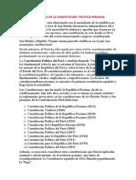 LA HISTORIA DE LA CONSTITUCIÓN  POLÍTICA PERUANA