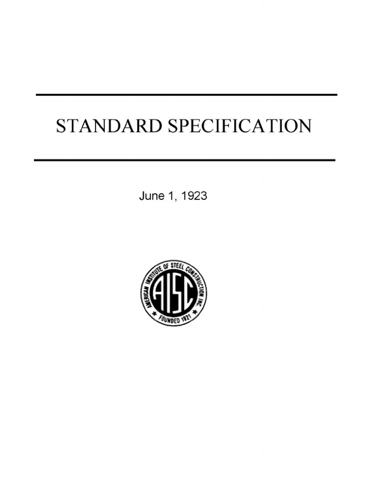 AISC 1923 Standard Specification for Structural Steel for