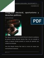 Integridad electoral, oportunismo y derechos políticos