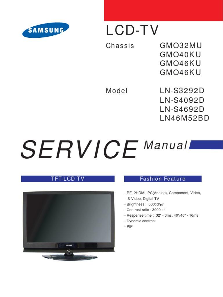 service manual ln s4692d lns4692d chassis gm046ku rh scribd com manual tv 32 lcd samsung ln32d550k7gxzd manual tv samsung lcd 32 serie 5