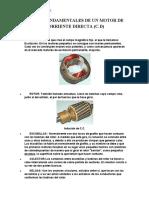 PARTES FUNDAMENTALES DE UN MOTOR DE CORRIENTE DIRECTA