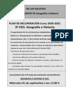 PLAN DE RECUPERACION 3º ESO GEH 2020-2021