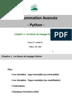 Chap01-Bases du langage Python-Variables-Liste-Dictionnaire