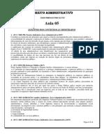 Aula 05 - Exercícios - Direito Administrativo