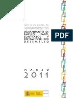 El paro en España según el Ministerio de Trabajo en MARZO 2011, avance