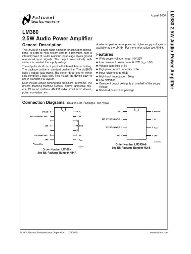 Lm380 Amplifier Electrical Engineering Power Audio Circuit