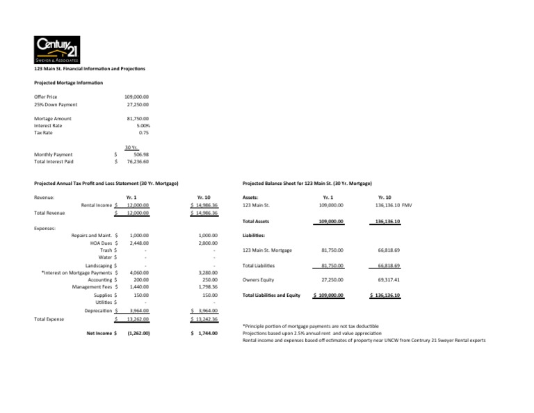 rental property income statement and balance sheet