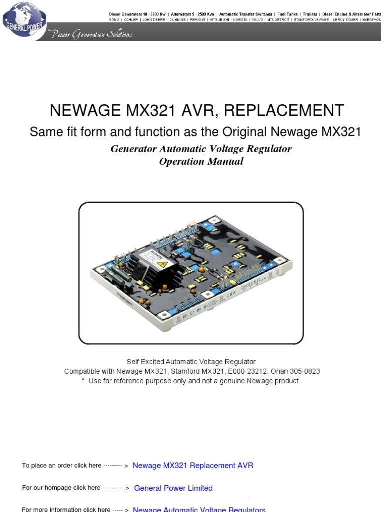 Mx321 Voltage Regulator Wiring Diagram Online Portable Generator Likewise 220 Electric Motor Newage Automatic Inductor Alternator