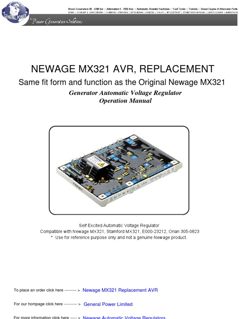 [SCHEMATICS_48IS]  NEWAGE-MX321-AUTOMATIC-VOLTAGE-REGULATOR | Electric Generator | Light  Emitting Diode | New Age Generator Wiring Diagram For |  | Scribd