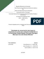 """""""Estrategia de comunicación para lograr la orientación en contra de la violencia intrafamiliar en la Comunidad Ciudad Sabatel, Parroquia Caucagua Municipio Acevedo Estado Miranda"""""""