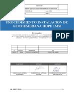 Procedimiento Instalacion de Geomembrana HDPE 1mm