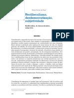neoliberalismo, desdemocratização e subjetividade