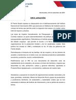 Declaración Secretariado Ejecutivo FA