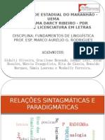 Slides Rel. Sintagmáticas e Paradigmáticas
