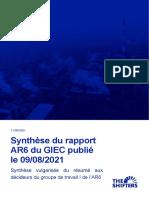 Synthèse du rapport AR6 -GIEC 2021