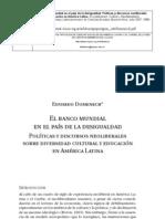El banco mundial en el pais de la desigualdad politicas y discursos neoliberales sobre diversidad cultural y educacion