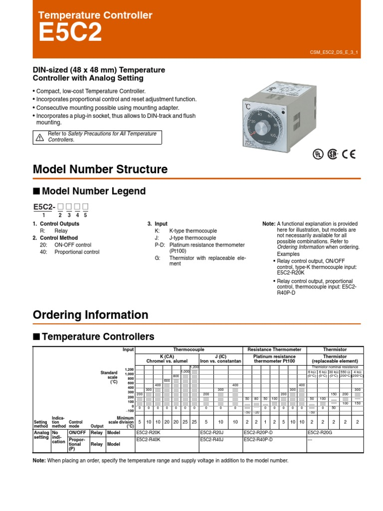 e5c2_ds_csm214 | Power Supply | Thermocouple