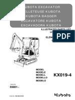 Parts List Catalog Kubota RG158-8129-0_KX019-4