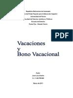 CÁLCULO DE LAS VACACIONES Y DEL BONO VACACIONAL