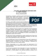 Discurso de José Luis Rodríguez Zapatero en el Comité Federal del PSOE