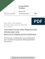 Linguistische Studien 184 Theoretische Und Praktische Probleme Der Neologismenlexikographie