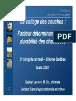 Le Collage Des Couches Facteur Determinant Pour La Durabilite Des Chaussees