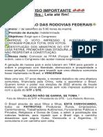 AVISO - PARALISACAO DAS RODOVIAS FEDERAIS