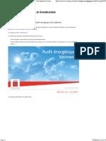 Analyser et produire un rapport d'Audit énergétique d'un batiment Architecture et Construction