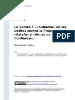 Barrientos, Pedro (2015). La Variable «Confianza» en los Delitos contra la Propiedad «Estafa» y «Abuso de Confianza»