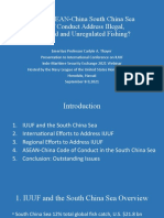"""Carlyle A. Thayer, """"Will the ASEAN-China South China Sea Code of Conduct Address Illegal, Unreported and Unregulated Fishing?"""" Presentation to International Conference on Illegal, Unregulated and Unreported Fishing, Indo-Maritime Security Exchange IMSE 2021, hosted by Navy League of the United States Honolulu Council, Webinar, Honolulu, Hawaii, September 8-9, 2021."""