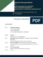Conferinta Gh. Beleiu 2021, Ed 2 - Program