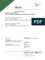 2009 Eurocódigo 1 – Acções Em Estruturas Parte 1-1 Acções Gerais Pesos Volúmicos, Pesos Próprios, Sobrecargas Em Edifícios